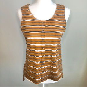 Yellow Mustard Striped Sleeveless Tank
